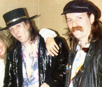 Stevie Ray Vaughn & Jimi Schutte - after the gig 1988